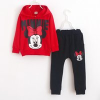 children cotton hoodies - 2016 Girls Mickey Minnie Cotton Sets Children Clothing Tee Shirt Hoodies Pants Sport Outfits Kids Clothes Activewear Set D6020