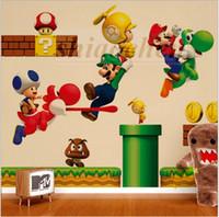Wholesale Super Mario Wall Stickers Mural DIY Backdrop Bedroom Living Room Poster Sofa Wallpapers Bros yoshi Wall Stickers Home Nursery Decor A470