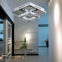Wholesale Modern LED Crystal Ceiling Light Fixture Square LED Crystal Lamp for Hallway Corridor Asile LED Lighting Fast Shipping