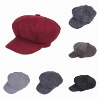 Wholesale Women Men Casual Newsboy Hats Octagon Hats Winter Warm Stingy Brim Travel Street Caps Colors Choose EPK