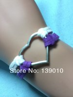 Cheap Free Shipping!6PCS LOT!New Fashion Metal Silver Heart Mixed Charms Jewelry Purple Leather Suede Lobster Clasp Braelet U-611