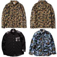 Cheap Fashion brand BAPE casual mens Camouflage military jacket shirts man long sleeve Thickening shirt camisa masculina . Y0668