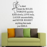 art es - 2015 Life Is Short Quote Wall Sticker Art Vinyl Decal Home Room Decor Removable New Fashion ES