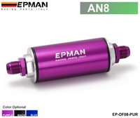 Wholesale Epman Racing CNC Billet Aluminum Micron Fuel Filter With Steel filter AN8 Fittings Purple EP OF08 PUR