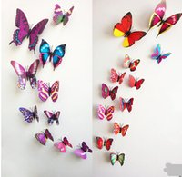 Wholesale Hot wall stickers D PVC butterfly sticker set beauti your living room bedroom