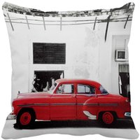 Cheap Vintage Red Cars White Walls Print Custom Home Decorative Throw Pillow Cover Decorate Pillow Sofa Chair Cushion case