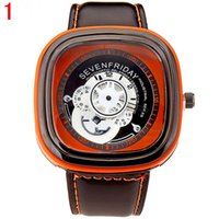 wach - Men Quartz Wach SEVENFRIDAY Brand Men Watch Square Dial Men Sport Watch relogio masculino Male Clock Leather Band