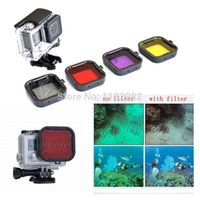 Wholesale tracking number Lens Filter Diving Filter Gopro HERO Camera Housing Case Underwater Lens Converter A5