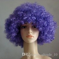 afro brazil - 800pcs CCA2333 Creative Halloween Party Afro Wigs Colorful Christmas Cosplay Hairs Clown Funny Synthetic Wig New Brazil Football Fans Wigs