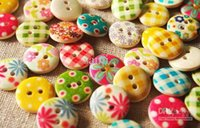 Wholesale HOT Wooden Sewing Buttons Scrapbooking mm Mixed Flower Hole