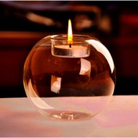Wholesale New Arrival Fashion Transparent Round Shape Glass Candle Holder Wedding Home Decorative With One Candle Romantic Dinner