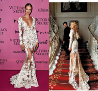 zuhair murad vestidos de fiesta al por mayor-Zuhair Murad 2016 Sheer Lace vestidos de noche mangas largas Appliques cuello en V largo CANDICE SWANEPOEL lleva Illusion Prom Celebrity Party Gowns