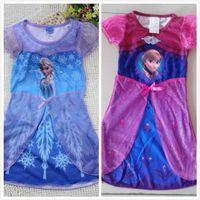 Multicolor anime dress up girls - New Arrival Anime Cartoon Frozen Elsa Dress For Girls dress up Anna Frozen princess short sleeve dresses Frozen