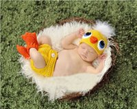 beanie babies chicken - 2016 Crochet Knit Baby duck chicken yellow Hat set Cosplay Costumes Newborn Photography Props Infant Animal Beanies set Clothing free ship