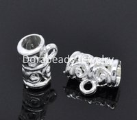 Wholesale hot Silver Plated Pattern Tube Spacers Beads Bail x5mm B03077
