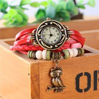 american watch manufacturers - European and American fashion classic retro owl female students watch female table leather woven bracelet watch manufacturer