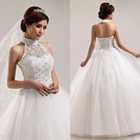 chinese crystal beads - Ball Gown Princess Chinese Style Wedding Dresses Halter High Neck Lace Tulle Beads Crystals Sequins Lace up Back Floor Length Bridal Gowns