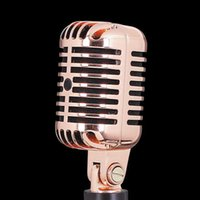 Wholesale Professional ROSE Gold color Deluxe Vocal Vintage Microphone for karaoke home entertainment wired Dynamic microfonos