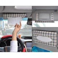 Wholesale Car Tissue Case Box drawer hanging towels Car tissue box Car sun visor PU leather beige checker tissue dispenser