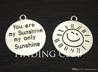 a960 - Antique Silver Round Message quot You Are My Sunshine My Only Sunshine quot Carved Charm Pendant x28mm A960