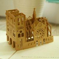 Wholesale Vintage Notre Dame de Paris Creative D Pop UP Greeting Gift Cards set of