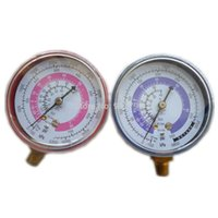 Wholesale Pair Air Conditioner R410A R134A R22 Refrigerant Low High Pressure Gauge PSI KPA A C Refrigeration Pressure Gauge Coolant Meter order lt no