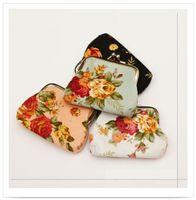 Wholesale Fashion Vintage flower coin purse canvas key holder wallet hasp small gifts bag clutch handbag
