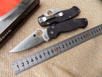 Wholesale High quality Spyderco C81GPCMO2 Paramilitary Knife C81 knife S30V black G Black handle white blade Top quality