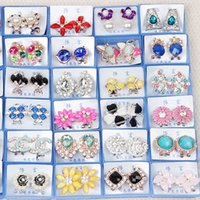 Wholesale Hot Fashion Colorful exquisite diamond stud earrings multi styles jewelry randomly delivery Christmas Sale fashion earrings stud