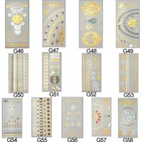 Wholesale DHL EMS Freeship Sheet Colorful Waterproof Style Body Art Painting Tattoo Sticker Glitter Metal Gold Silver Temporary Flash tattoo