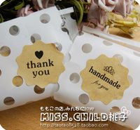 Wholesale Flower shaped quot thank you quot quot handmade quot paper sealing paste gift decoration stickers