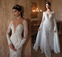 Cheap Charming Lace Applique Mermaid Wedding Dresses Detachable Chiffon Cloak Bateau Neck Long Sleeve Backless Long Bridal Gowns 2015 Berta Weddi