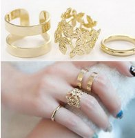 Cheap New hot sale 3PCS Set Women Gold silver 925 Cute Urban Plain Above Knuckle Ring Band Midi Ring Leaf Heart Knuckle Rings