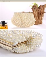 Wholesale 2016 Hot Sale In Stock Shining Pure Pearl Prom Chain Clutches Beaded Evening Hand bags Bridal Hand Bags