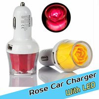 apple itouch new - New luminous rose car charger Dual USB A charging adapter with led for apple iphone plus S s ipad for ipod iTouch sumsung