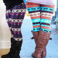 acrylic snowflake - 2015 Hot New Aztec Leggings for Women Knitted Christmas deer and Snowflake Leggins Ankle Length Tribal Print Legins FREE SHIP