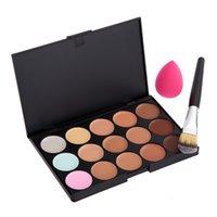 Wholesale Fashion colour Face Cream Makeup Concealer Palette Brush Wood Handle Sponge Puff
