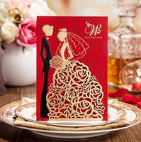 Wholesale 2016 New Personalized Wedding Invitations Cards Red Color With Hollow Lace Gold Dress Bridal and Groom Laser Cut Party Cards fast Shipment