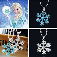 Wholesale Hot Sale Newest XMAS Girls Silver Frozen Snowflake Crystal Necklace Pendant Dress Up Chain Best Gift DHL