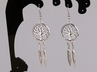 Wholesale Antique Silver Dream Catcher Tree of Life amp Leaves Charm Dangle Drop Earring For Women Jewelry pair