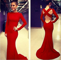 Wholesale Sexy Vestidos De Fiesta Scoop Neck Long Sleeves Open Back Royal red Mermaid Long Evening Dresses new dorp shipping