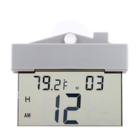 alarm clock with weather display - LCD Display Digital Digital Thermometer Clock Mini Temperature Measurement Meter Calendar Weather Station Tester with Sucker DHL H16507