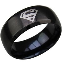class ring - SZ Black Super Man Ring Stainless Steel Comics Gift Child Boy Kid Birthday Gift School Class