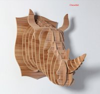 Wholesale wood rhinoceros wall decoration crafts rhinoceros animals head home decoration novelty items DIY craft carved wall art rhinoceros wood wall
