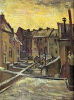 backyard art - Modern Art Backyards of Old Houses in Antwerp in the Snow II Vincent Van Gogh oil painting on Canvas High quality Hand painted