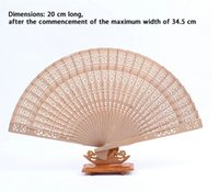 antique art prints - Folding Chinese Style Fan Fragrant Wood Hollow Flower Print Hand Fan GiftIF Brand New Good Quality