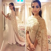 Wholesale 2015 Celebrity Dresses with Lace Cloak Vintage Mermaid Sheer High Neck Sleeveless Arabic Indian Women Formal Evening Dress Red Carpet Gowns