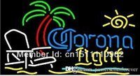 Cheap Yellow CORONA LIGHT Best Commercial restaurant high quality bright neon sign BEACH CHAIR PALM TREE