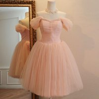 pink bandage dress - Pink bandage dress short paragraph bridesmaid princess wedding dress dinner banquet costume new winter