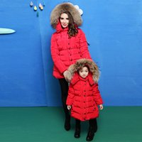 american duck - Winter Zipper Down Coat for Kids and Mom Fashion Long Down Jacket Outdoor Warmer Great Coat with Cat High Quality